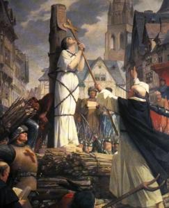 pintura sobre o martírio de Joana D'Arc