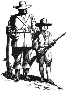 "Crédito: Belmonte. O bandeirante Manoel de Campos Bicudo, com o filho Antonio Pires de Campos. ""No tempo dos bandeirantes""."