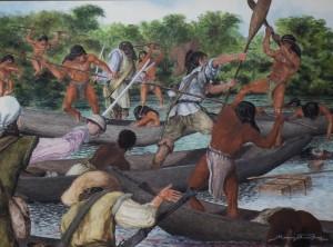 Crédito: Moacyr Freitas. Quadro 'Combate de monção com os Paiaguás'Fonte: GCom-MT.
