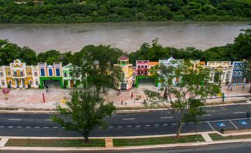 vista aérea da Orla do Porto, Cuiabá, Mato Grosso.