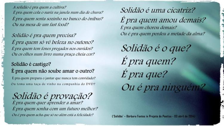 Poema 'Solidão' de Bárbara Fontes. Projeto de Poetisa.